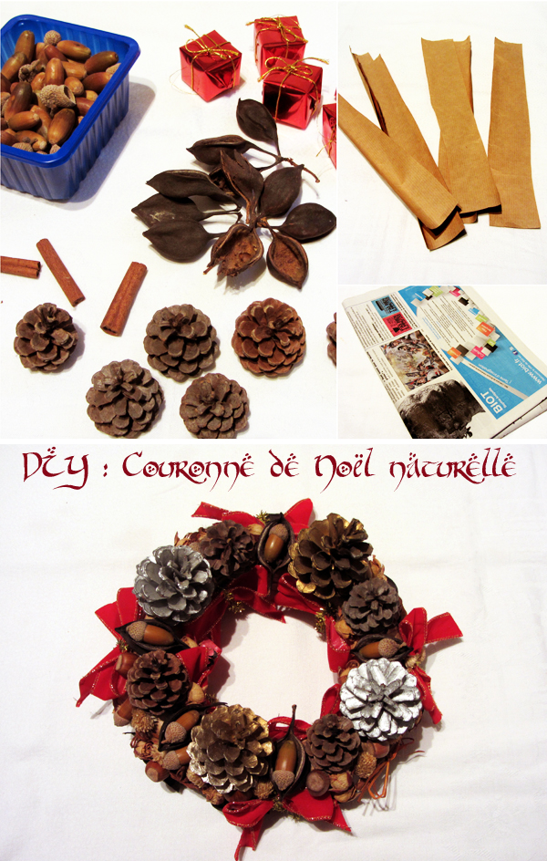 Diy couronne de no l naturelle eco createurs co cr ation diy cr ations blog colo cologie - Couronne de noel naturelle ...