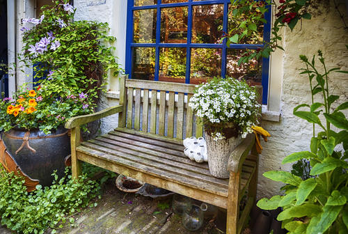 home terrace with wooden bench